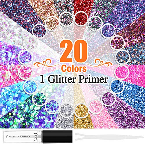 20 Colors Holographic Cosmetic Chunky Glitter, Flasoo 20