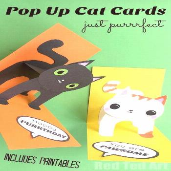 3D Cat Card DIY - You are Purrrfect, Happy Purrthday, You are PAWsome. Some adorable Pop Up Cat Car