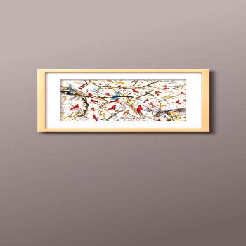 Birds overhead  Check out this framed print of male and female cardinal birds.