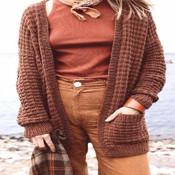 Campsite Waffle Cardigan Pattern — Two of Wands
