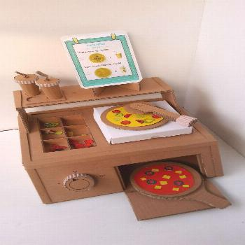 Cardboard pizza counter for kids