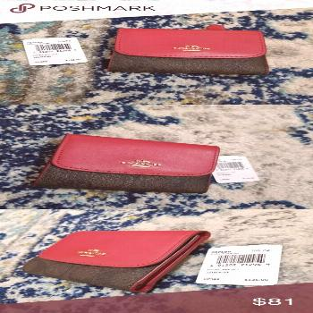 Coach Small Wallet Red Brown Signature Canvas NWT Coach | Small Wallet New with tags Retail $135 Sa
