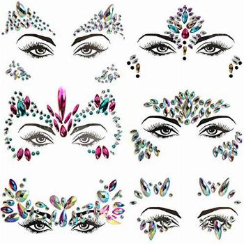 Face Jewels, 6 Pcs Face Crystal Sticker for Women Girls