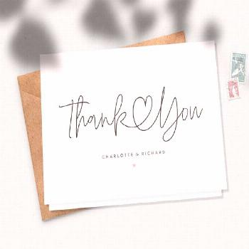 Folded Heart Wedding Thank You Cards with Envelopes, Personalised Wedding Thank You Cards, Simple P