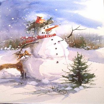 Items similar to 6  Winter Wonderland Snowman Cards with white envelopes on Etsy Items similar to 6
