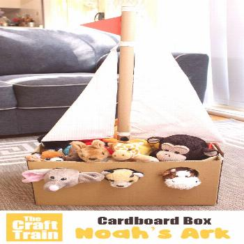 Make a Noah's Ark from a cardboard box for your stuffed animals . This is a fun DIY toy for imagina