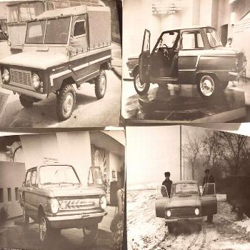 Mixed Lot 4 pcs Old Photo Russian Cars Zaporozhets Moskvich Volyn Photograph 60s