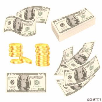 Money. Dollars cash gold prize banknotes roll cards vector realistic pictures of money. Cash dollar