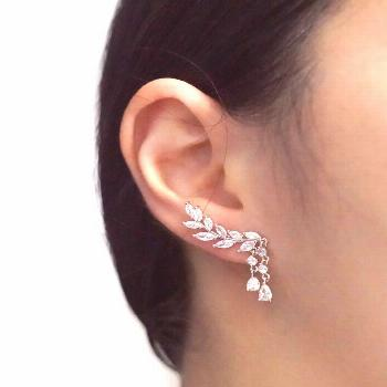 Olive Leaf Climber Earrings, Rose Gold Silver, Brides Jewelry, Wedding bridal shower gifts, dainty