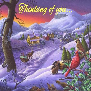 Painting - Thinking Of You Greeting Card - Cardinals Sleigh Ride Small Town Winter Landscape by Wal