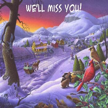 Painting - We'll Miss You Greeting Card - Cardinals Animals Sleigh Ride Winter Country Landscape by