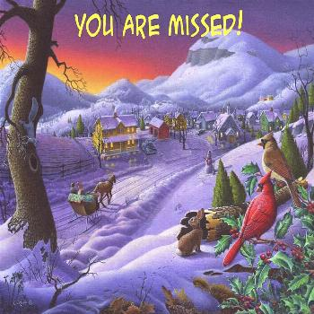 Painting - You Are Missed Greeting Card - Cardinals Animals Sleigh Ride Winter Country Landscape by