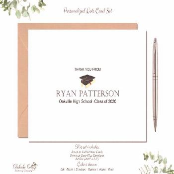 Personalized Graduation Thank You Cards Set with Envelopes , Set of 10 High School Cards Class of 2