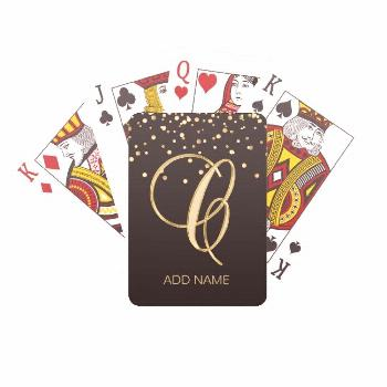 Personalized Monogrammed Letter 'C' Gold Black Playing Cards Affiliate