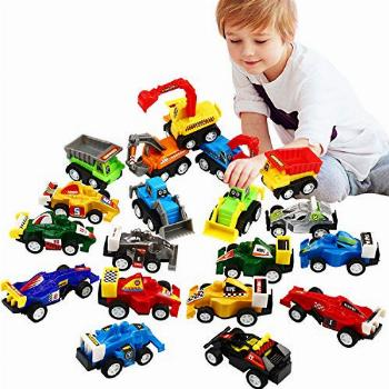 Pull Back Car, 20 Pcs Assorted Mini Truck Toy and Race Car