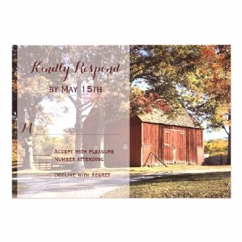 Rustic Barn and Trees Country Wedding RSVP Cards |  -