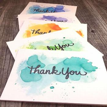 Set of 5 watercolor thank you cards, handmade thank you cards set, blank thank you cards set -  Thi