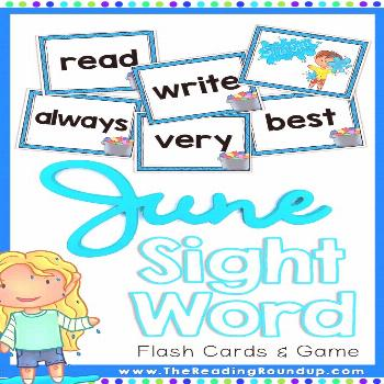 Summer Sight Words Game and Flash Cards | June,  Summer Sight Words Game and Flash Cards | June,