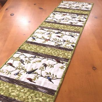 Table Runner with Birds and Leaves Cardinals, Blue Jays and Chickadees#birds