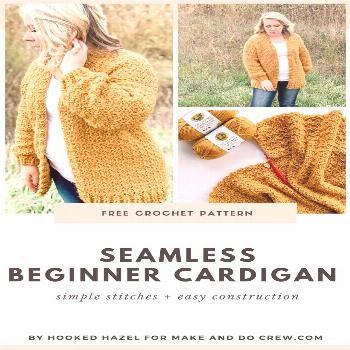 This free, nearly seamless crochet cardigan pattern is easy enough for beginners and perfect for la