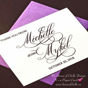 Wedding Thank You Cards, Wedding Thank You Notes, Folded Personalized Stationery/Stationary - CLASS