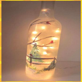 Winter Tree  with Cardinals Lighted Frosted Wine Bottle crafts crafts crafts bottle crafts crafts
