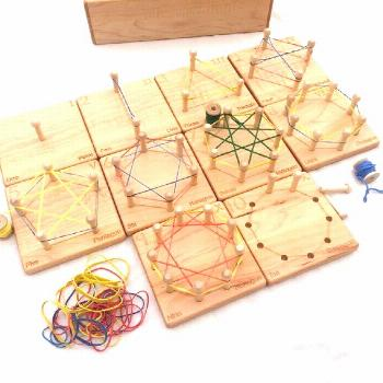 Wooden Geometry Cards - Homeschool Math Toys - by Jennifer#cards