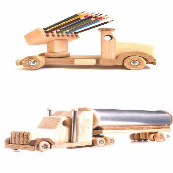 Wooden toys for boys Montessori educational toys Wood truck Pencil holder Handmade toys Unique birt