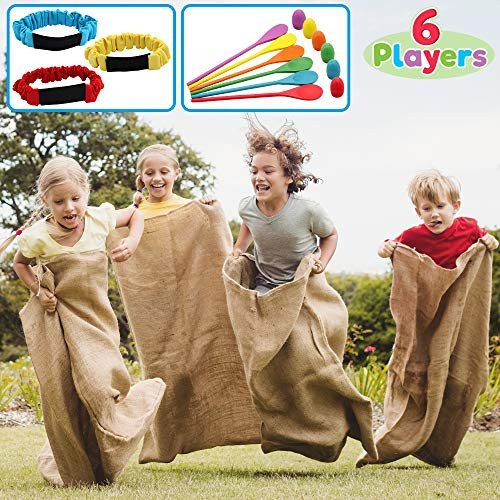 6 Player Carnival Games Potato Sack Race Bags, Egg and Spoon