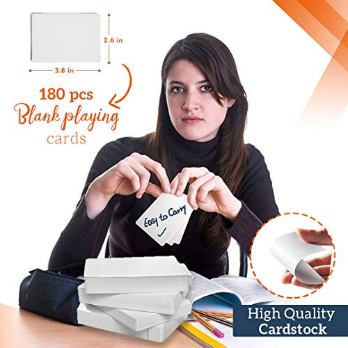 Blank Playing Cards to Write On 180-Piece Deck - White Blank