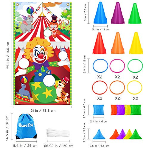 iBaseToy Carnival Game Bean Bag Toss Game for Kids amp Adults,