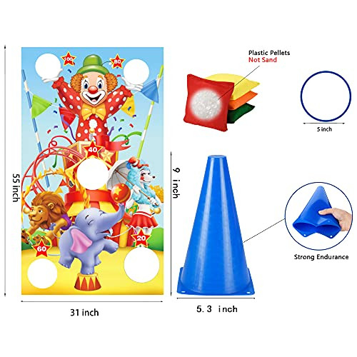 Invech Carnival Games for Kids Party,4 in 1 Ring Toss Set