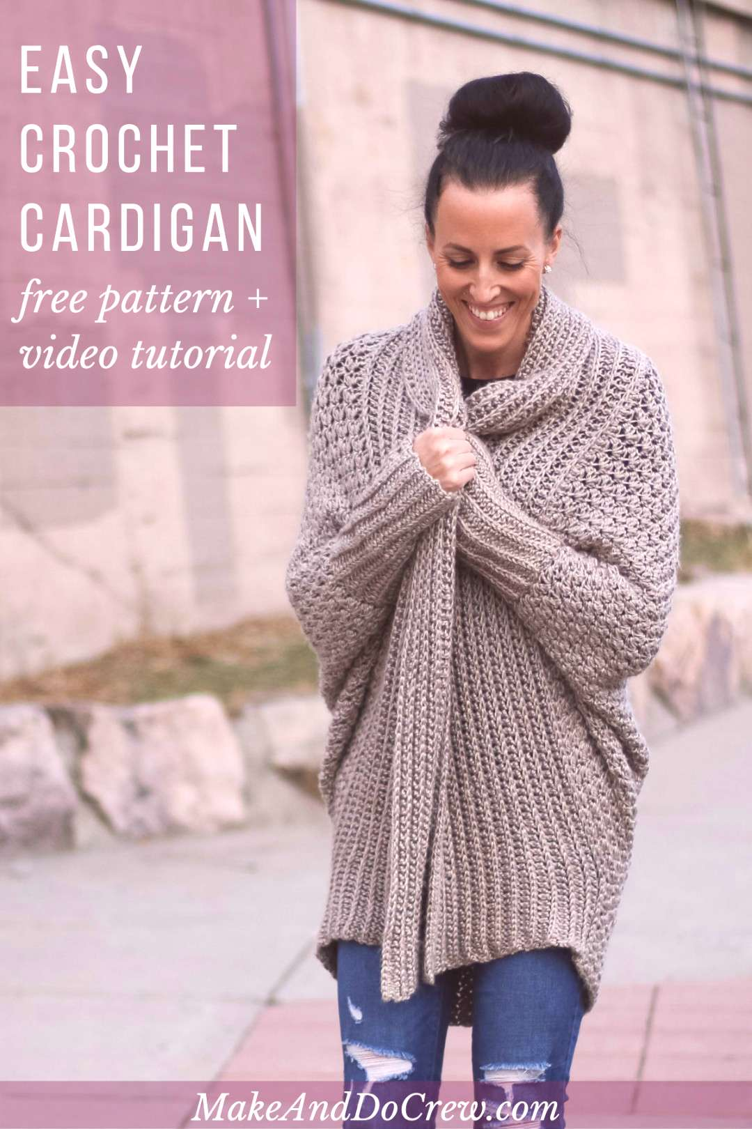Learn How to Make an Easy Crochet Cardigan - Free Pattern + Video Tutorial Learn how to make an eas