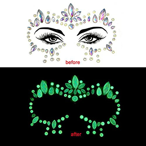 Luminous Face Gems 4/Sets Mermaid Face Jewelry Stickers Glow