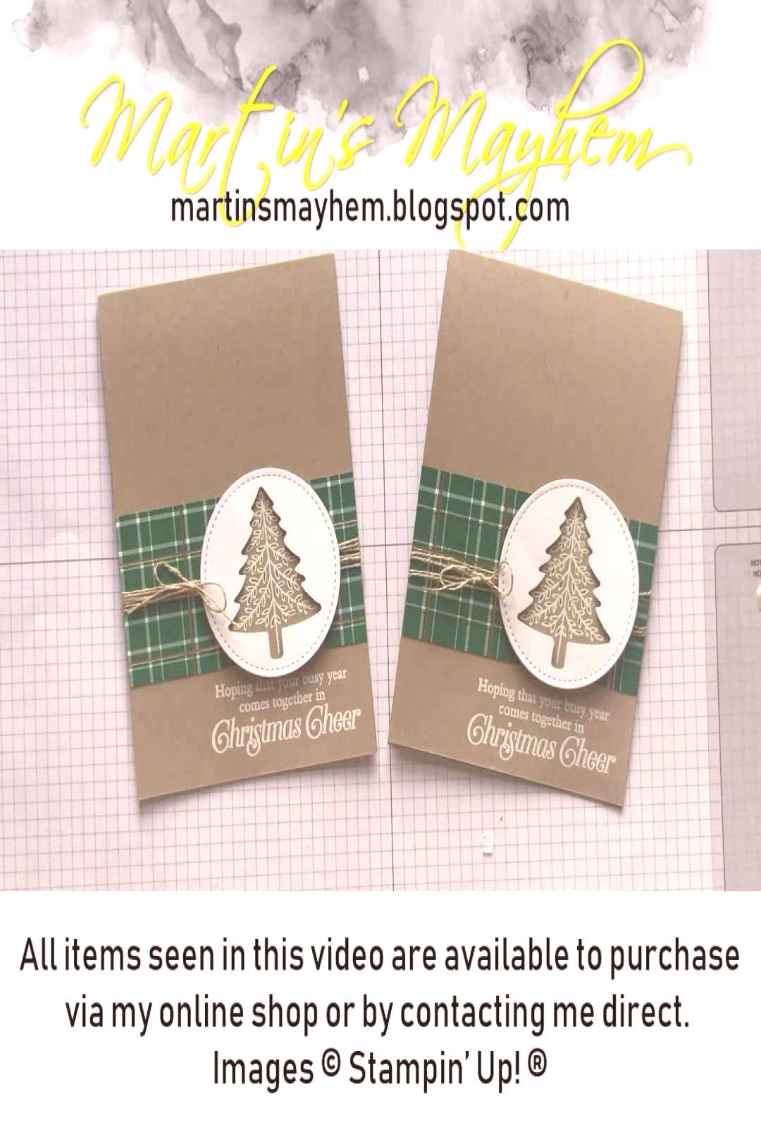 Stampin Up Perfectly Plaid Card - Christmas cards - Easy, step by step video tutorial for DIY car