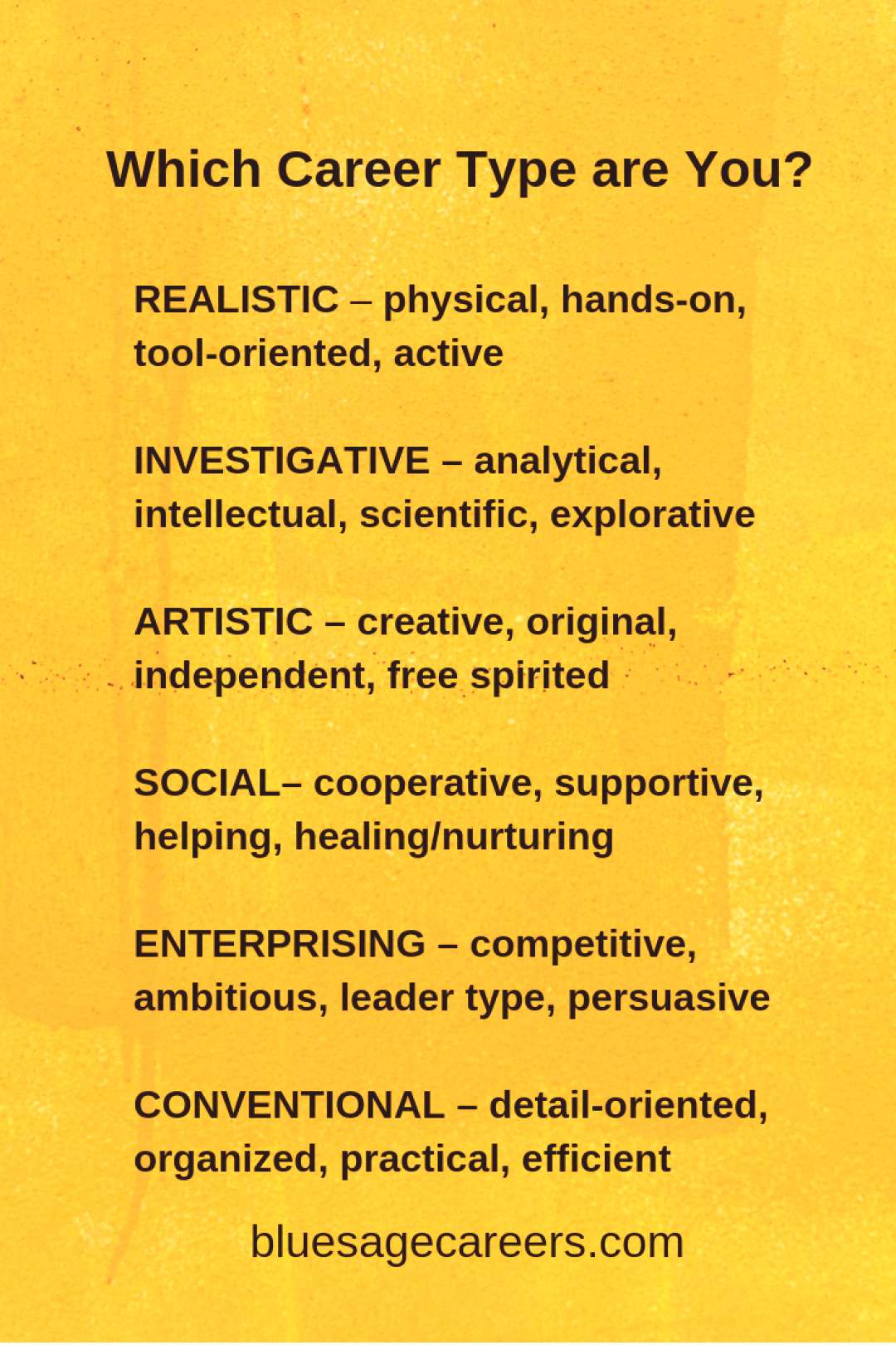 What Career Type Are You? Holland Codes are personality types that match your interests with a lis