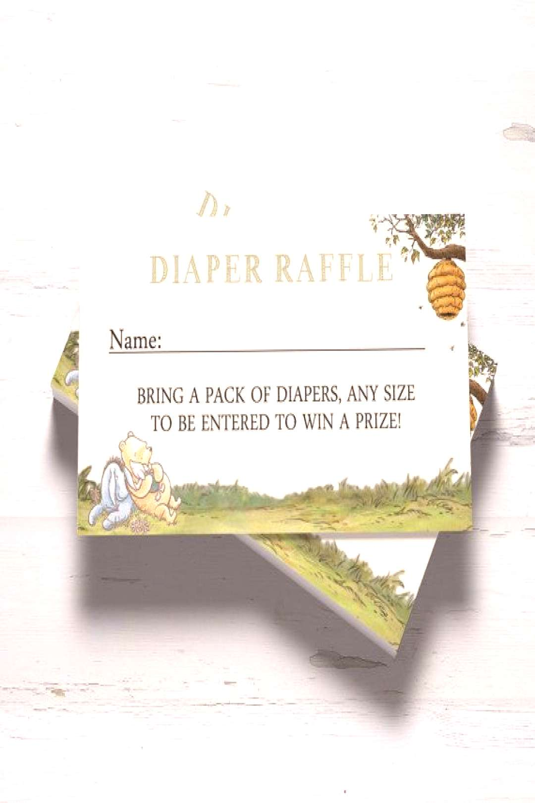 Winnie the Pooh Baby Shower Diaper Raffle Cards Printable Baby Shower INSTANT DOWNLOAD Boy Girl Bab