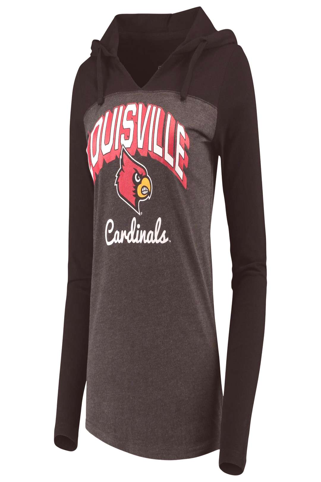 Womens Charcoal Louisville Cardinals Knockout Color Block Hooded Long Sleeve V-Neck T-Shirt
